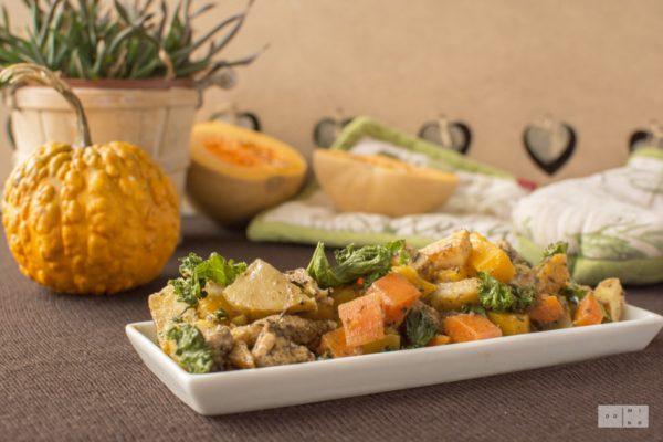 Pieczone warzywa jesienne z indykiem