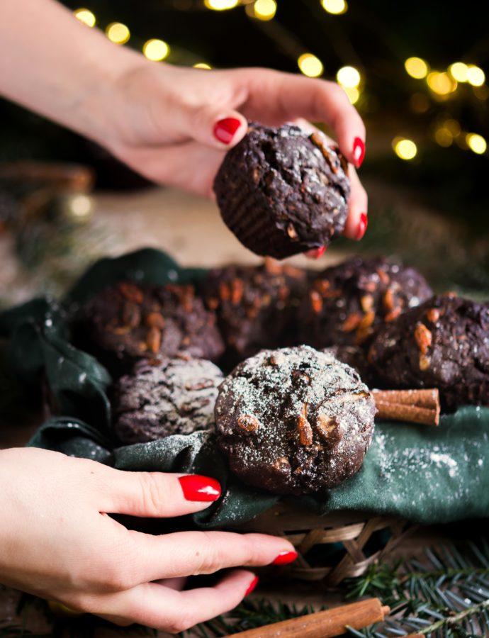 Piernikowe muffinki bananowo – cukiniowe z orzechami
