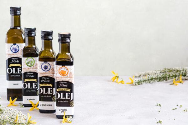 najzdrowszy olej oleje zimnotłoczone nierafinowane oliwa z oliwek olej z czarnuszki lniany konopny z pestek dyni