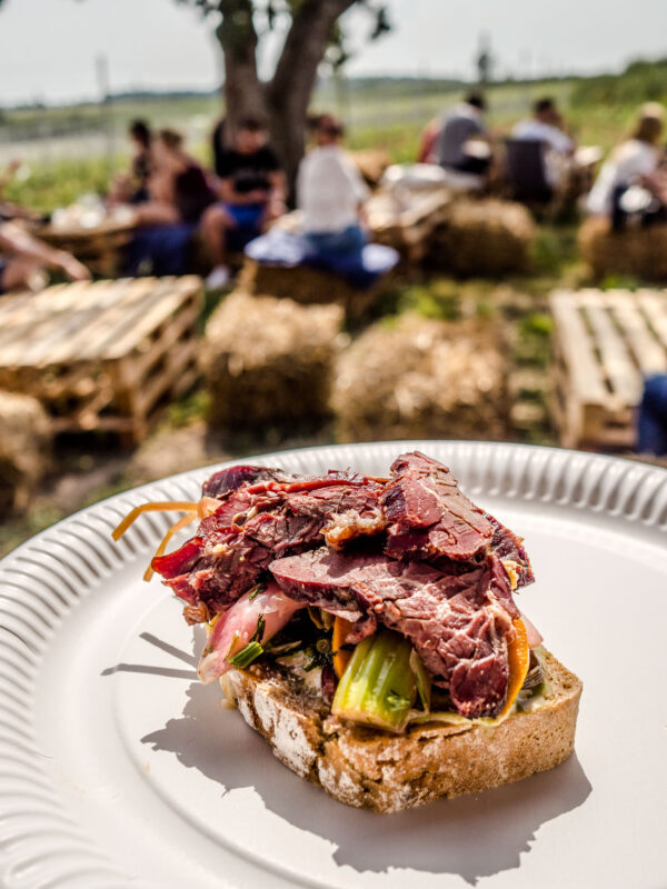 Żar wino w winnicy - plenerowa kuchnia z pysznym winem i mięsiwem kanapka z wędzoną wołowinąświecą