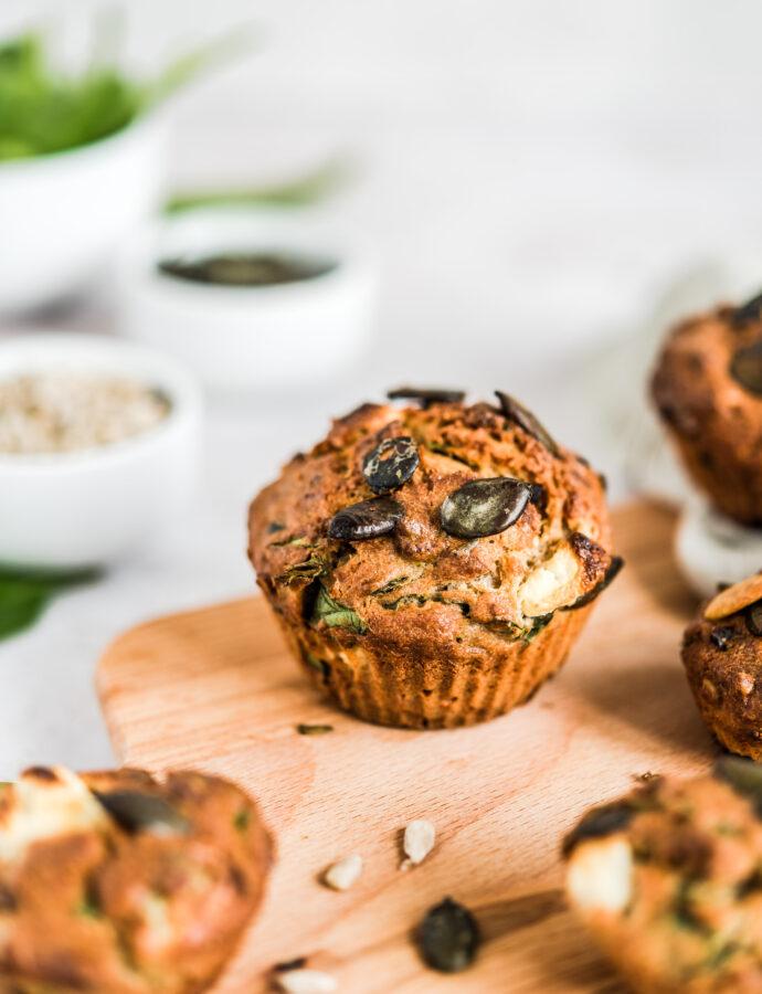 Muffiny ze szpinakiem i fetą – wytrawne muffinki z pestkami dyni i słonecznika