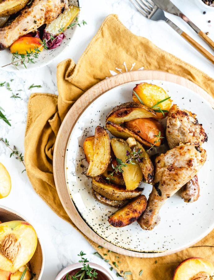 Pieczone podudzia z kurczaka z brzoskwiniami i ziemniakami