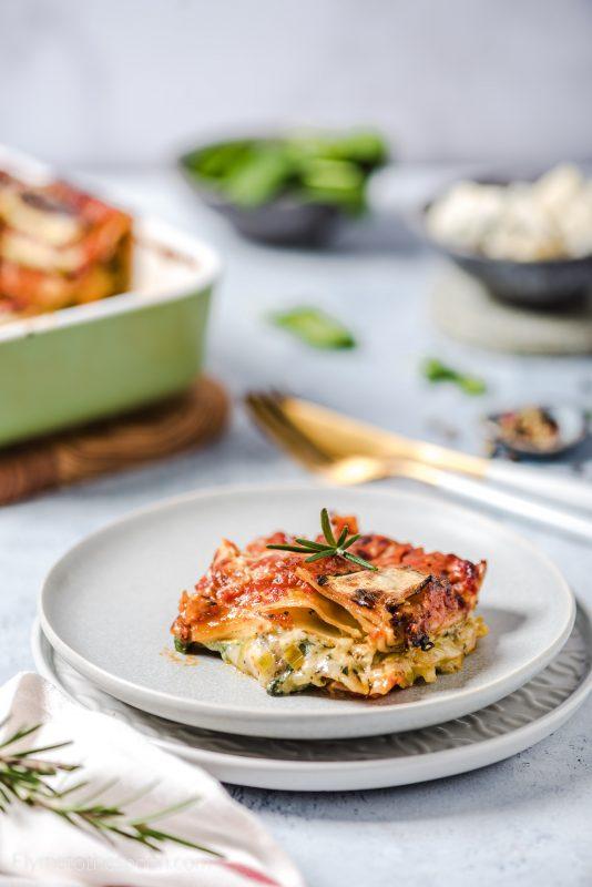 Wegetariańska lasagne z gorgonzolą i szpinakiem