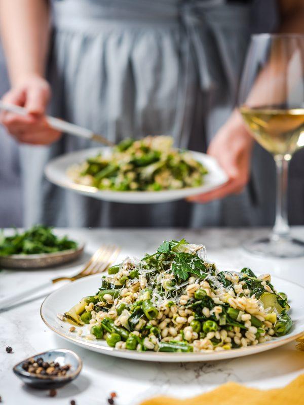 Kaszotto z zielonymi warzywami